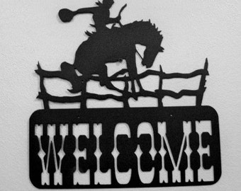 WELCOME BUCKING Bronco Rodeo Western sign WEDDING Anniversary Gift  Rustic Decor Grooms gift