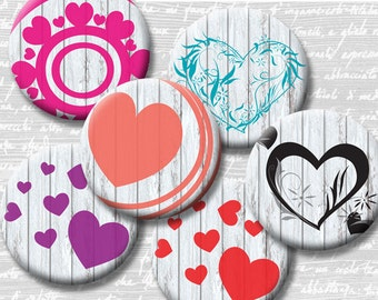 Hearts Valentine's Day Digital Collage Collage Sheet 18mm 16mm 14mm 12mm Circle Round on 4x6 8.5x11 Sheets for Earrings Pendants
