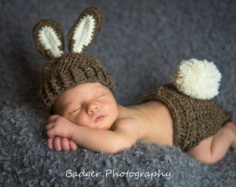 Baby Bunny Hat, Bunny Hat Photo Prop, 0 to 3 Month Brown Bunny Hat