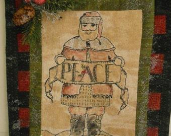 Santa Wall hanging, St. Nick Wall hanging, Christmas wall hanging , Peace wall hanging