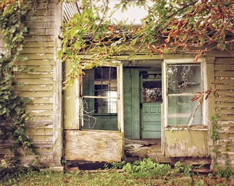 Abandoned Farmhouse, Decay Photography, Rural Decay, Dark and Moody, Rustic, Cottage, Colorful Photograph, Nature Photography, Door Picture
