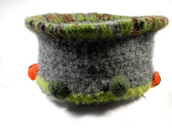 Felted Bowl Gray with Green and Orange Accents
