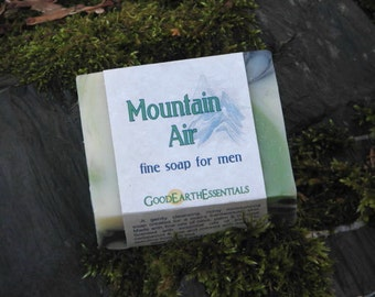 Beautiful Soap for Men, Mountain Air scent with pine, fir, cedarwood and lime essential oils