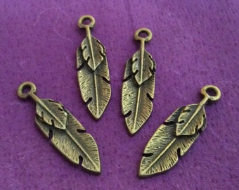 Large Feather Pewter Charm Gold