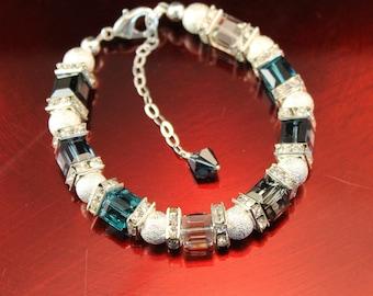 The Gabrielle Swarovski Cube Bracelet in Blues - Rhinestone Squaredelles, Zircon Blue, Silverlight, Montana Blue, and Stardust Silver Rounds