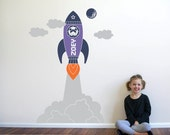 Rocket Launch Girl Wall Decal Outer Space Girl Room Theme Wall Art Stickers Personalized Name