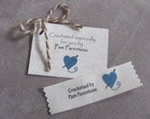 Clothing labels, Crochet Labels, Crochet Tags, Personalized Crochet labels,  Personalized Tags, Name labels with Yarn heart