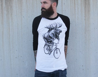 Moose on a Bicycle -  Baseball Raglan Tee, Mens T Shirt, Unisex Tee, Cotton Tee, Handmade graphic tee, Bicycle shirt, Bike Tee, sizes xs-xxl