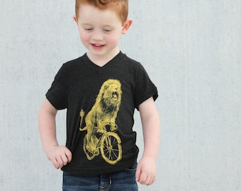 Lion on a Bicycle - Kids V Neck - Tri-Black T-Shirt - American Apparel