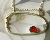 Ready to ship- Red Seaglass, Sterling Silver and 14K Gold Pendant