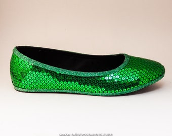 Kelly Green Custom Sequin Ballet Flat Slippers Shoes