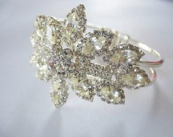 Rhinestone Clamper Bracelet Stunning Floral 1960's Silver