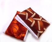 Sports Burp Cloths- Basketball Football- set of 2