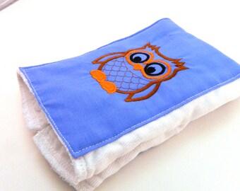 Owl Burp Cloth, Brown Orange Embroidered Diaper Burp Cloth - single you choose color