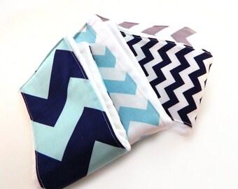 Chevron Burp Cloths Boy - Aqua Navy Blue Gray- Set of 4 / Baby Shower Gift / Newborn Boy Gift