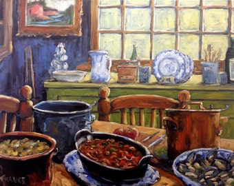 Company for Dinner Original Still Life - Oil Painting Created by Richard T. Pranke