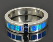 Blue Sapphire Ring with Lab Created Opal in Sterling Silver by Hileman