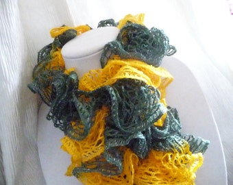 Green and Gold Ruffle Scarf for Green Bay Packers Fans