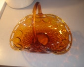 Vintage Indiana Glass Basket   Amber Topaz  Beautiful !   Large with Handle
