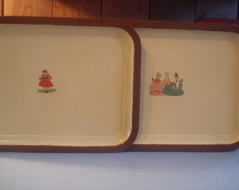 Vintage Trays   1940    tea trays   mustard and brown with cute vintage scenes of women