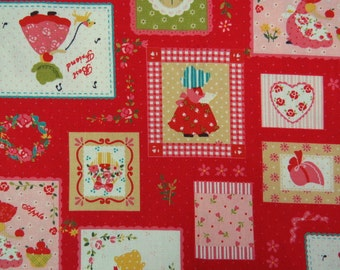 2519B - Sweet Sunbonnet Sue Patchwork Fabric in Red, Lovely Girl Fabric, Patchwork, Tiny Dots, Apple, Flower, RIbbon, Heart
