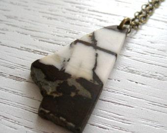 SALE - African Opal Gemstone Pendant Necklace