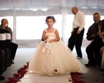 Ivory Flower Girl Dress with Detachable Train - Miniature Bride Dress