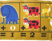 SALE LABOR DAY - 15% Off Back to School Vintage Children's Wall Hanging Table Runner Animals People Math Numbers