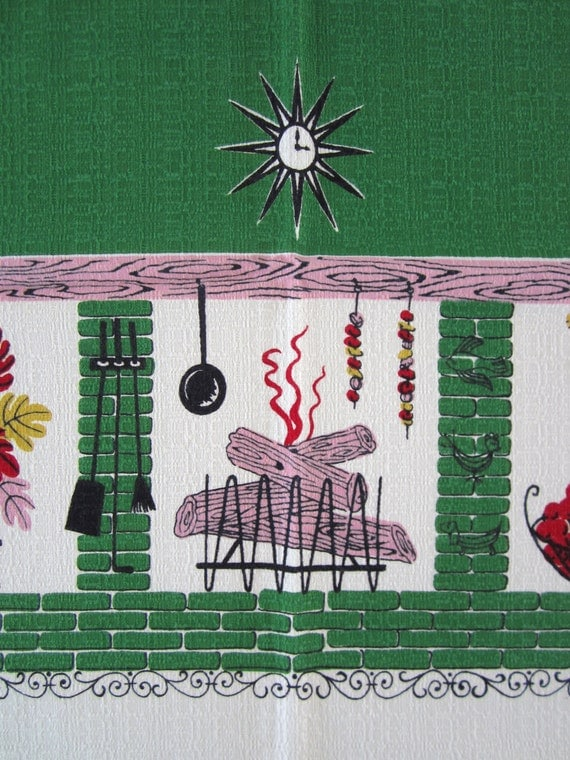 Vintage Barkcloth Tablecloth Mid Century Atomic By Neatokeen