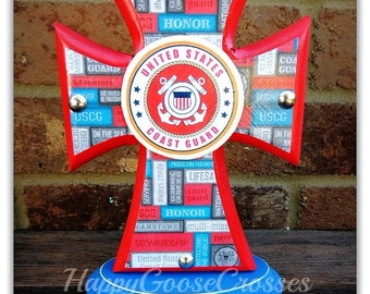 Cross - Wood Cross - Military - Mini-Standing Cross - US Coast Guard, USCG (can be made in any branch)