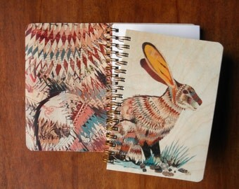 Dolan Jack Rabbit Pocket Notebook -  A Collaboration with Mixed Media Artist Dolan Geiman - Real Birch Wood Jotter Notepad - J1739