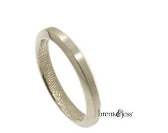 Narrow Beveled Edge Handcrafted Fingerprint Wedding Ring with Wrapped Print on the Inside - Sterling Silver