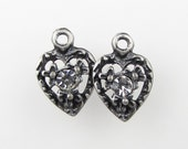 Vintage Swarovski Crystal Heart Charm Antiqued Silver Flower Filigree uvf0170 (2)