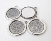 Antiqued Silver Ox Frame Setting Round Cabochon Bezel 15mm set0321 (4)