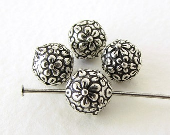 TierraCast Flower Bead Antiqued Silver Ox Floral Metal Round Bali Finding 8mm cmb0030 (4)