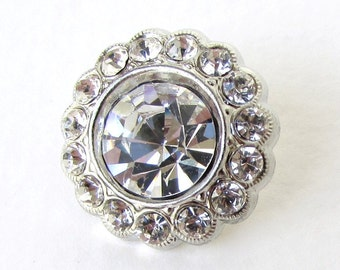 Rhinestone Button Crystal Silver Flower Metal Shank Czech 21mm but0270 (1)
