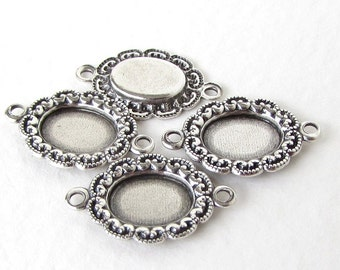 Filigree Setting Antique Silver Ox Connector Cameo Cabochon Bezel 8x6mm set0316 (6)