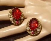 Vintage West Germany Earrings ruby red glass Earrings w/ faux pearls