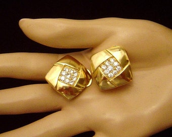 Vintage signed Vendome Earrings rhinestones