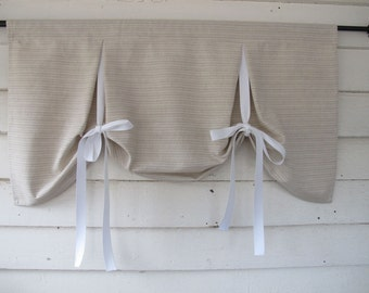 Taupe White Stripe Tie Up Valance Swag Balloon Tie Up Curtain