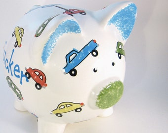 Cars & Trucks Piggy Bank - Personalized Piggy Bank - Automobile Bank - Car Savings Bank - Car Piggy Bank - with hole or NO hole in bottom