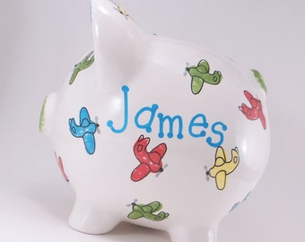 Airplanes Piggy Bank - Personalized Piggy Bank - Planes Piggy Bank - Kids Piggy Bank - Jet Plane Bank - with hole or NO hole in bottom