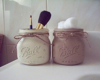 Set of Two Painted and Distressed Elite Wide Mouth Mason Jars.Bathroom Decor. Rustic Decor. Painted Mason Jars. Cosmetic Holder.