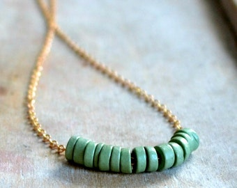 Brass necklace, sage green clay beads, choker necklace - Herbal