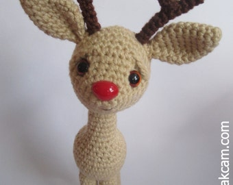 Rudolph the Red Nosed Reindeer - crocheted with cotton yarn
