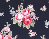 Flower Sugar Cotton Oxford Pink floral on Navy 40398L-72  one yard