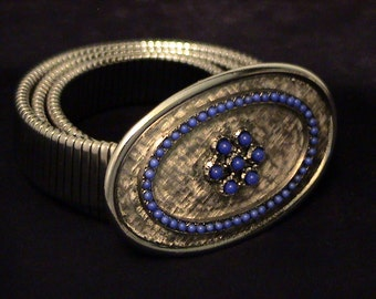 Vintage ACCESSOCRAFT Silver and Lapis Blue Glass Bead BELT