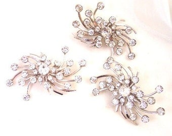 1950's Large Sparkling Rhinestone Spray Pin and Earrings