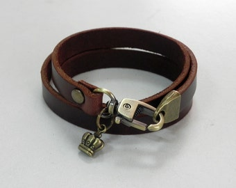 Leather Bracelet Leather Charm Bracelet Brown Color with Metal Bronze Crown Charm