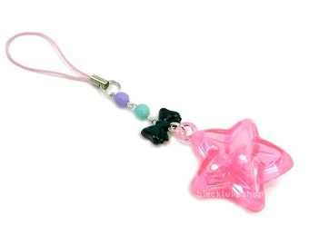 Pink Star Bag Charm Cute Rattle Fairy Kei Sweet Lolita Harajuku Style Zipper Pull Backpack Purse Tote Bag Decoration